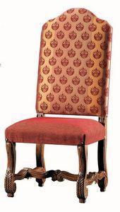 Seurat RA.0989, Silla de madera de nogal tallada, asiento y respaldo tapizados
