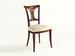 Shelley, Silla clásica, asiento tapizado, respaldo con tallas