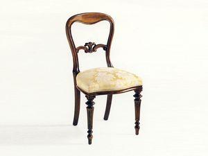 Sidney, Silla de comedor, de estilo clásico y lujoso, asiento acolchado