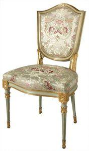 Silla ART. SD 0004, Silla acolchada de estilo veneciano, dorado y lacado