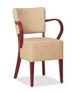 326, Silla con asiento tapizado grande, con reposabrazos.