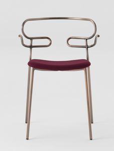 ART. 0048-MET-IM GENOA, Silla de metal con reposabrazos, asiento tapizado.