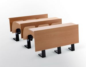 Ateneo desk central feet, Escritorio con asientos para auditorio