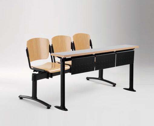 Cortina movable bench with school table, Banco con asientos y respaldos en contrachapado, para universidad