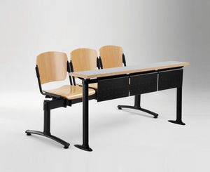 Cortina movable bench with school table, Banco con asientos y respaldos en contrachapado, para universidad