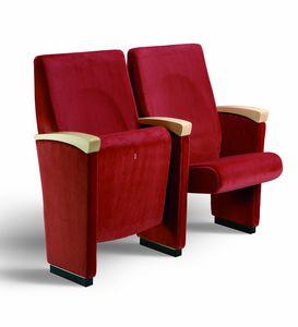 Gonzaga T, Conferencia silla acolchada con los brazos cubiertos con madera