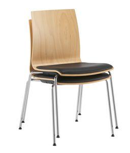 Q2 W, Silla apilable, con carcasa de madera y asiento acolchado.