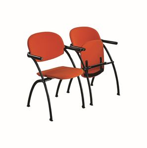 Aura linking chair, Silla de metal, insertable, con asiento abatible