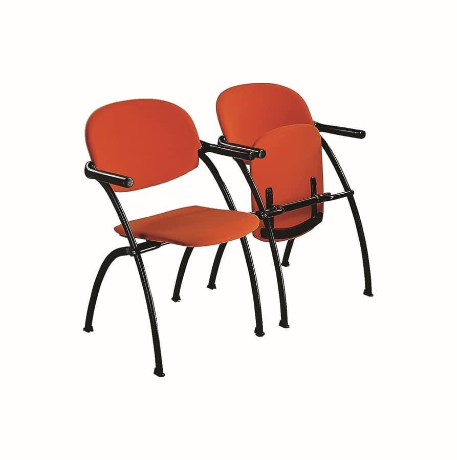 Aura linking chair, Silla de metal, insertable, con asiento abatible