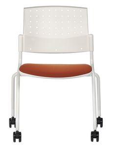 NESTING DELFIBRIO 063 R, Silla de metal con asiento tapizado con ruedas