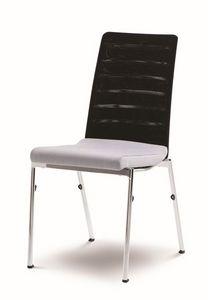 Evosa Congress 08/3, Silla multiuso en acero, asiento tapizado, espalda anatómica, para conferencias, reuniones, banquetes