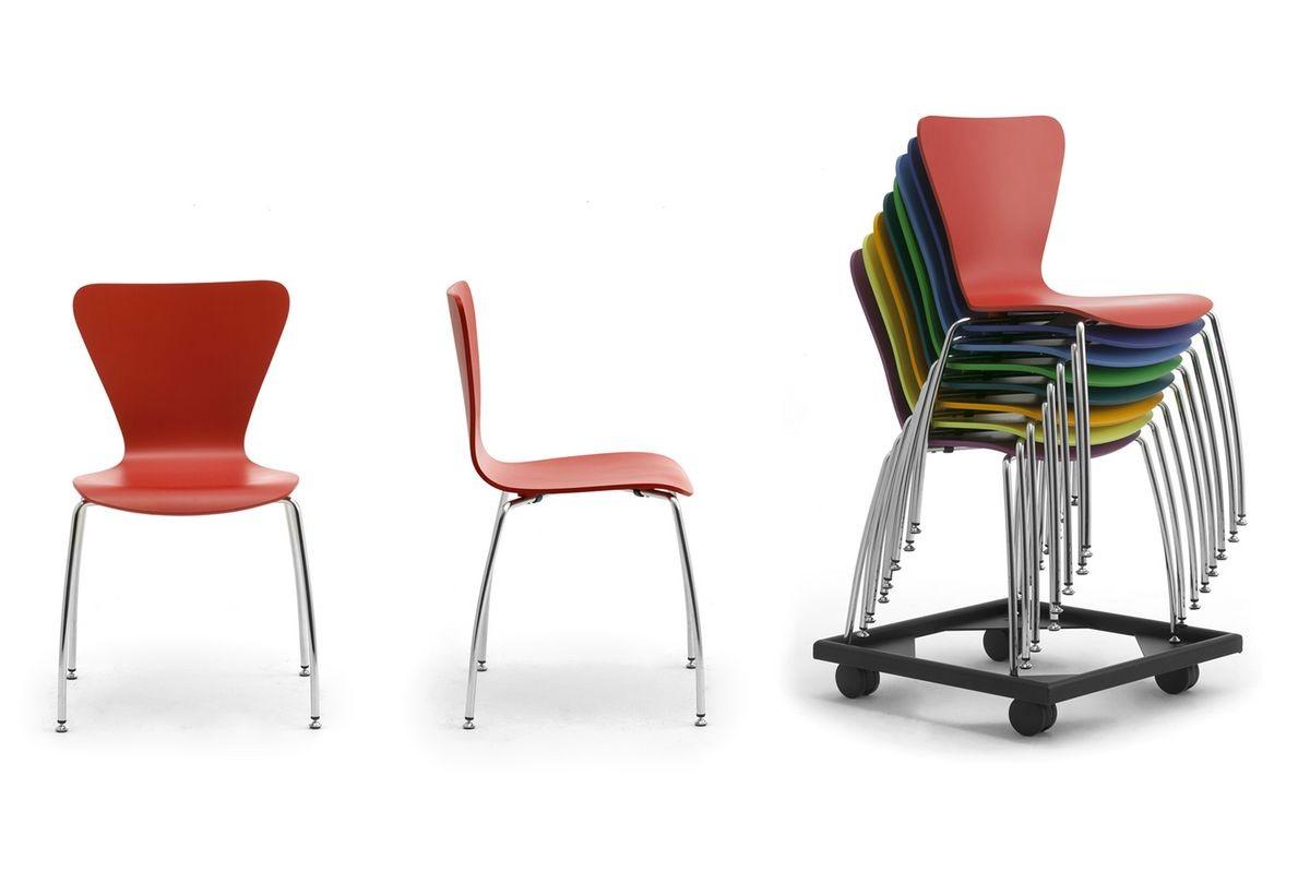 Gardena 0653LE, Silla en metal y madera, para oficinas y salas de espera