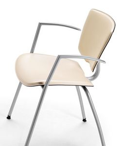 VEKTATOP 121, De metal silla con apoyabrazos, tapizado de cuero