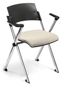 Comoda 02, Silla apilable, asiento abatible, con brazos
