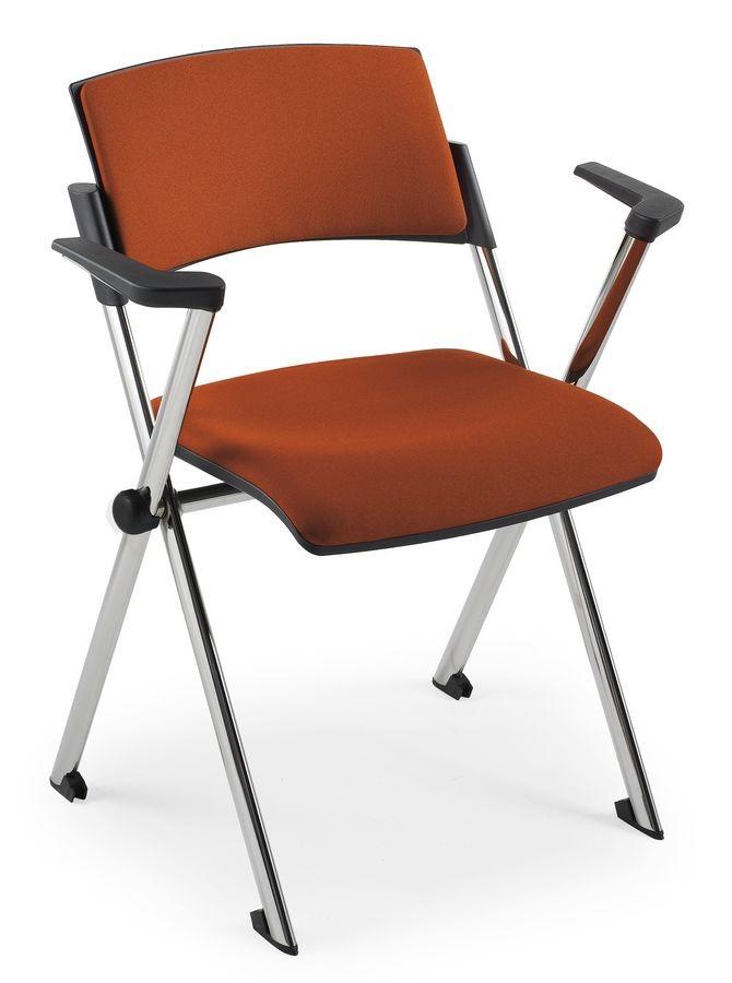Comoda Soft 02, Silla apilable con apoyabrazos, en acero, para salas de conferencias