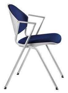 NESTING DELFI 089 S, Silla de metal apilable con asiento acolchado