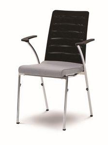 Evosa Congress 08/3A, Silla con base de metal, asiento acolchado, respaldo anatómico, con reposabrazos, para conferencias, reuniones, banquetes