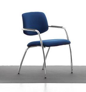 Samba 02, Silla de metal cromado, asiento y respaldo tapizados, para la oficina