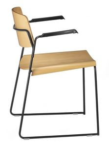 SIGMA 167, Silla con patín, asiento de madera contrachapada, con brazos