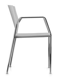 TREK 038, Silla con base de metal cromado, asiento y respaldo de polímero