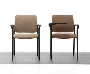 Urban Soft 02, Silla apilable acolchado con reposabrazos para sala de reuniones