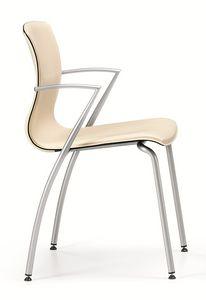 WEBTOP 384, Silla de metal con asiento tapizado de cuero