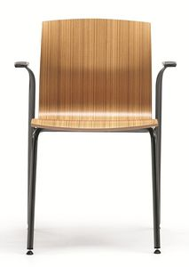 WEBWOOD 358, Silla de metal apilable con carcasa de madera de haya