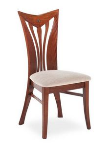 Button ST, Elegante silla con respaldo de lamas verticales curvadas