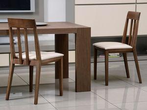 Complementos Silla 01, Silla de madera, asiento tapizado, respaldo con lamas verticales