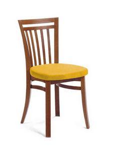 Sofia, Silla de madera de haya con asiento tapizado, para salas de estar