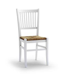 TIFFANY, Silla con asiento de paja y respaldo de diseño vertical