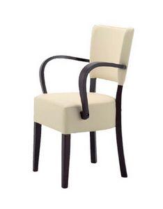 302, Silla de madera con asiento y respaldo acolchado