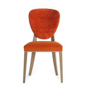 Cammeo 02611, Silla de madera maciza, asiento y respaldo tapizados, revestimiento de tela, estilo moderno