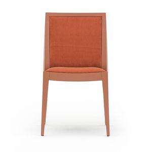Flame 02111, Silla de madera maciza, asiento y respaldo tapizados, revestimiento de tela, estilo moderno