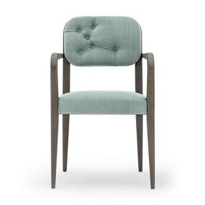 Garbo 03121K, Moderna silla de madera con brazos, con respaldo acolchado