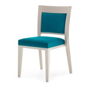 Logica 00917, Silla apilable, asiento y respaldo tapizados, estructura de madera