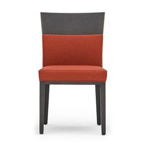 Logica 00930, Silla de madera maciza, asiento y respaldo tapizados, para el uso del contrato