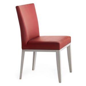 Logica 00934, Silla de madera maciza, asiento y respaldo tapizados, tapicería de cuero, para el uso del contrato