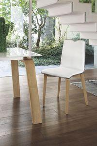 LOSANNA SE05, Silla con estructura de madera maciza, asiento y respaldo tapizados, de estilo moderno