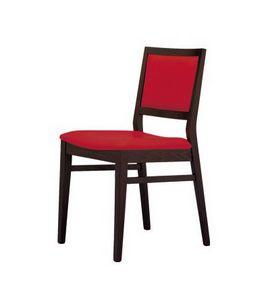 M05, Silla con asiento y respaldo acolchado, cubierta con tela