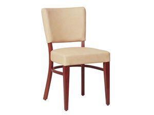 Marsiglia/S, Silla de madera para sala de estar, con asiento y respaldo tapizados