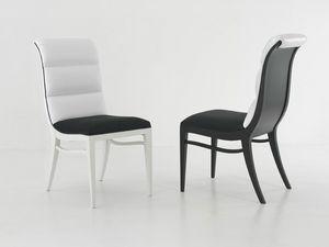 MELANIE chair 8362S, Silla tapizada sin apoyabrazos, con respaldo curvo