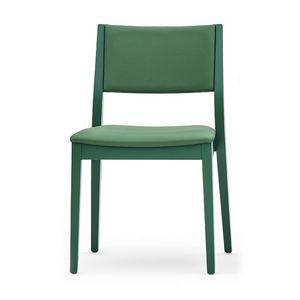 Sintesi 01512, Silla de madera maciza, tapizado respaldo y el asiento, estilo moderno
