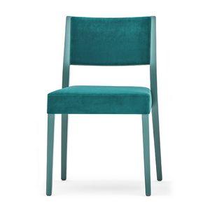 Sintesi 01514, Silla de madera maciza, tapizado respaldo y el asiento, estilo moderno