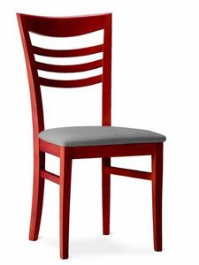 220 Sveva, Silla de madera con asiento acolchado