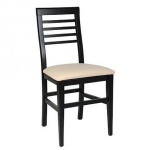 314 BIS, Silla de haya, asiento tapizado, listones horizontales traseros