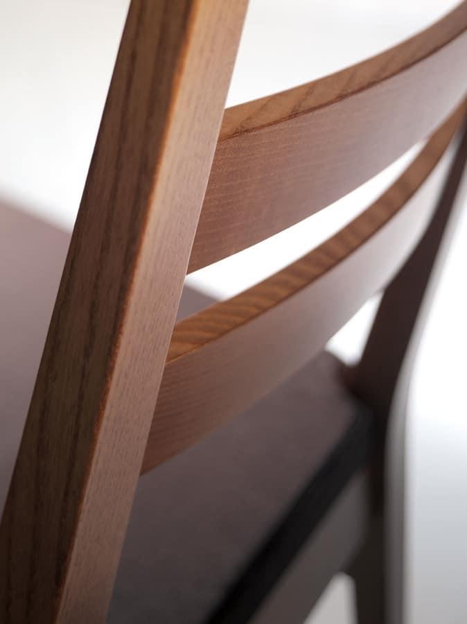 DENISE, Silla de madera lineal, asiento tapizado