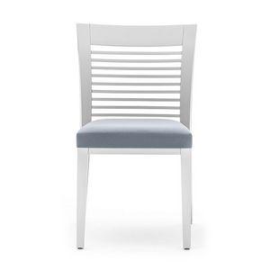 Logica 00915, Comedor silla en madera con lamas horizontales respaldo