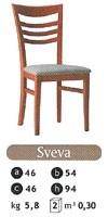 SVEVA, Silla de madera con asiento acolchado, para el uso del contrato