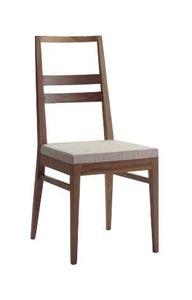 Us Denise, Silla de madera para el hogar, silla con asiento tapizado para restaurantes